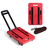 LOHOME 6 Wheels Folding Hand Trucks - 440 lb Load Foldable Luggage Cart Hand Collapsible Platform Trucks with Free Rope (Red)