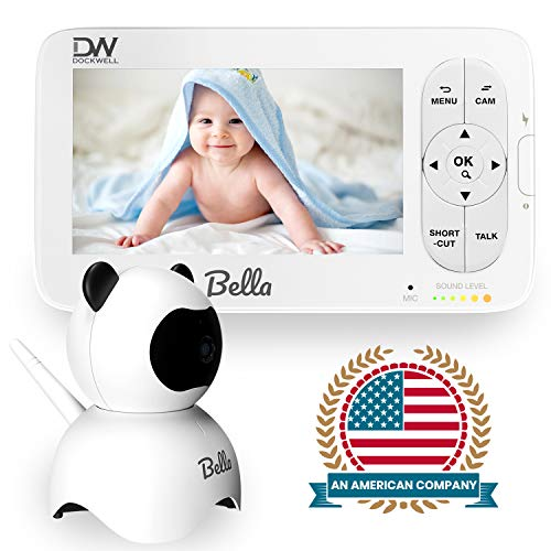 """Dockwell Bella Baby Monitor Video with Camera and Audio - 5"""" LCD Display - HD Clear Picture Quality - Wide Angle 340 Degrees Pan 90 Degrees Tilt - 2 Way Audio - Alert Notifications - Night Vision"""