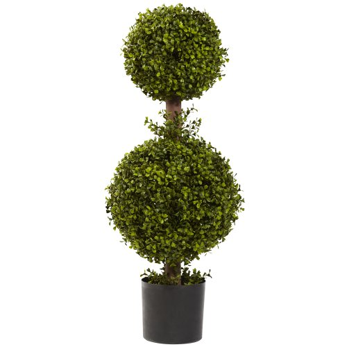 Nearly Natural 5920 Double Boxwood Topiary, 35-Inch, Green