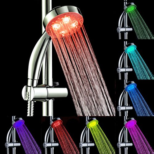 er Head Handheld 7Color LED Romantic Light Water Bath Home Glow (Retail Curved Shower Rod)