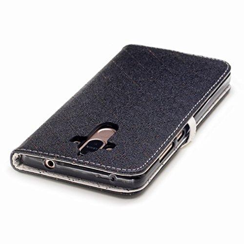 Yiizy Huawei Mate 9 Custodia Cover, Amare Design Sottile Flip Portafoglio PU Pelle Cuoio Copertura Shell Case Slot Schede Cavalletto Stile Libro Bumper Protettivo Borsa (Nero)