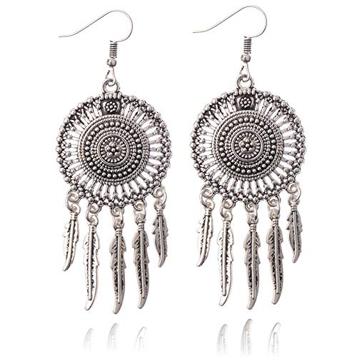 ZHUBAOO Dangle Long Leaf Tassel Pendant Retro Palace Women Party Earring ()