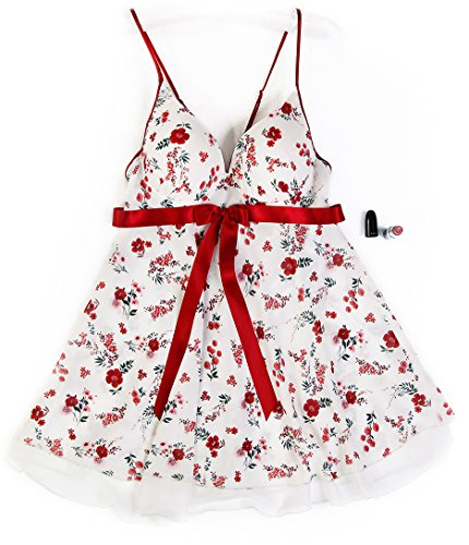 Zorita lingerie Women's Floral Chiffon Lace Padded Baby-Dolls Nightgowns Sexy Chemise G-String Lingerie Set (Maroon, (Chiffon Silk Chemise)
