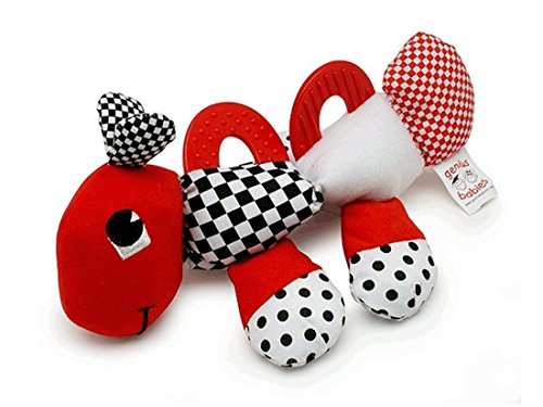 Baby's First Caterpillar Pal - Black, White & Red Teether Toy ()