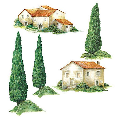 Wallies 12235 Tuscan Houses and Trees Wallpaper Cutout - Wallies Wallpaper Cut Out