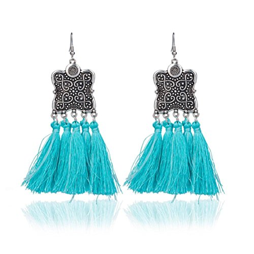 Elogoog Women's Girls Elegant Jewelery Bohemia Ethnic Fan-Shape Fringe Tassels Dangle Stud Earrings Eardrop Necklace Rope Earrings (Blue (Shield)) (Enamel Blue Due)