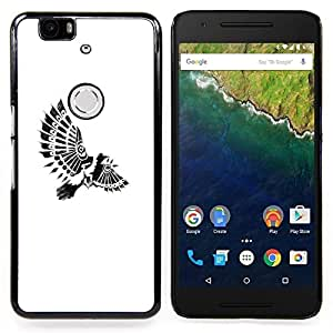 For Huawei Nexus 6P - Bird Paraplane Indian Feathers White Case Cover Protection Design Ultra Slim Snap on Hard Plastic - God Garden -