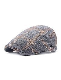 Men's Flat Cap Newsboy Cabbie Driving Duckbill Beret Hat Adjustable