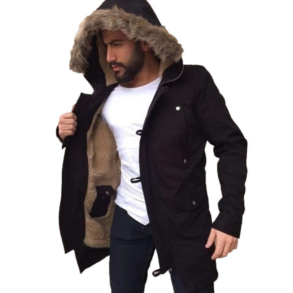 Men's Winter Hooded Frost-Fighter Sherpa Lined Midi Packable Parka Jackets Overcoat Outwear Wind Breaker Casual Coat Black by Close-dole