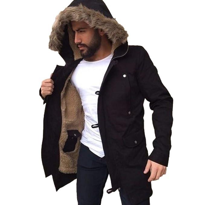 Ansenesna Abrigo Hombre Invierno Largo Talla Grande Chaquetas Deportivas Invierno Abrigo Outwear Abrigo Cortavientos con Capucha