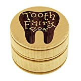 Wood Tooth Fairy Box for Under Pillow - Baby Keepsake Gift for Boys, Girls, Children, Kids (Fang Style)