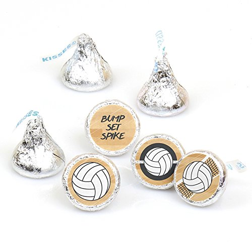 Bump, Set, Spike - Volleyball - Baby Shower or Birthday Round Candy Sticker Favors - Labels Fit Hershey's Kisses (1 sheet of 108)