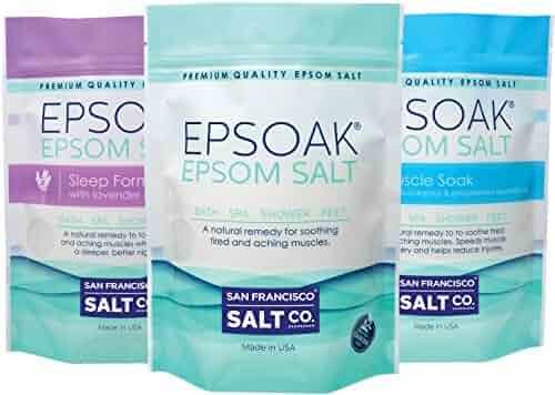 Ultimate Epsoak Epsom Salt Bundle – 3 pack of Sleep Formula 2lbs, Muscle Soak 2lbs, Original Unscented 2lbs