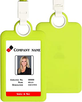 Heavy Duty Vertical ID Card Badge Holder Employee Name Tag W// Lanyard Neck Strap