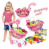 KISSKIDS 19'' Large Plastic Shopping Cart with Accessories of Fruits, Vegetables, Drinks, Popular Pretend Toy for Children(Pink)