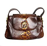 Gucci Brown 1973 Python Tote Handbag Shoulder Bag 251811