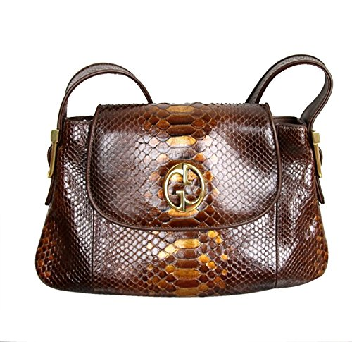 Gucci-Brown-1973-Python-Tote-Handbag-Shoulder-Bag-251811