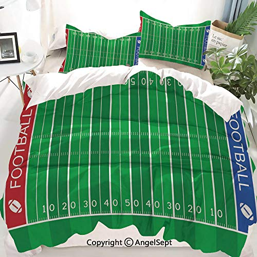 Homenon Football Decor Duvet Cover Set King Size,American Football Field Playground Stripes and Numbers League Scramble Score,Decorative 3 Piece Bedding Set with 2 Pillow Shams