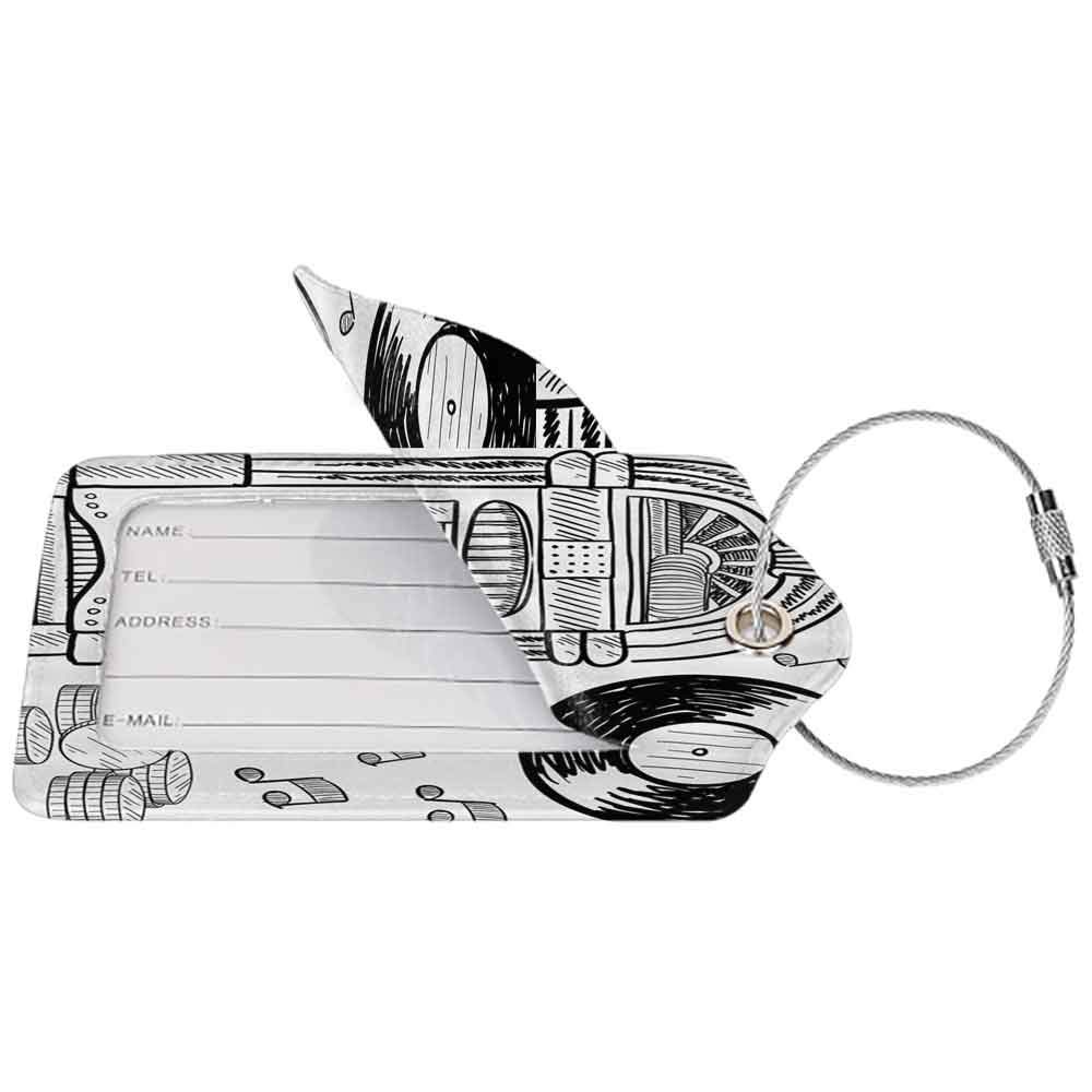 Decorative luggage tag Jukebox Doodle Style Retro Music Box Notes Coins Long Play Vintage Sketchy Artwork Suitable for travel Black and White W2.7 x L4.6