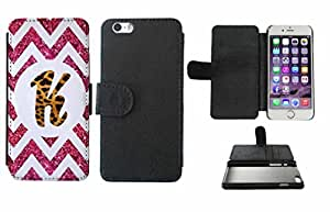 Leopard Print Custom Monogrammed and Pink Glitter Chevron Initial K Leather Phone Case Cover with Credit Card Holder Apple iPhone 6 (4.7 Inches)