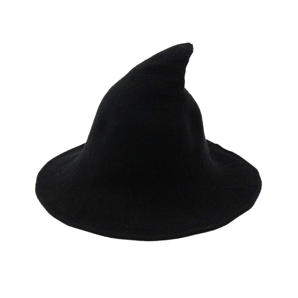 Fekey&JF Women's Witch Kinitted-Wool Hats,for Halloween Party Masquerade Cosplay Costume Accessory and Daily Black by Fekey&JF