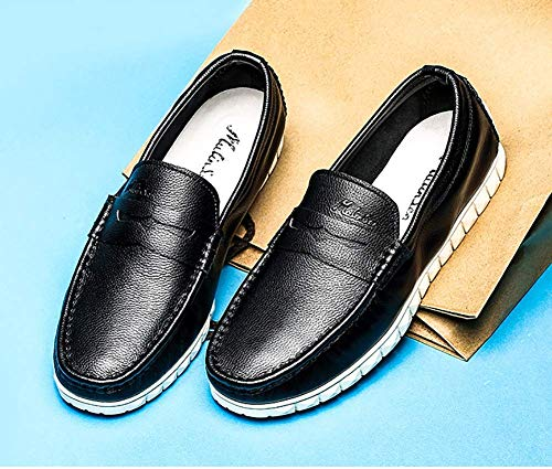 de 7 Talla Color Mocasines con de US HhGold 5 9 Azul para cómodos Brown 8 Color Cuero Zapatos para Hombre Cordones Yellow 8 5 UK Hombres Hombres UK Casuales Negro tamaño US q6nCavw