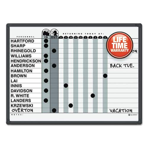 (Magnetic Employee In/Out Board, Porcelain, 24 x 18, Gray/Black, Aluminum Frame, Sold as 1 Each)