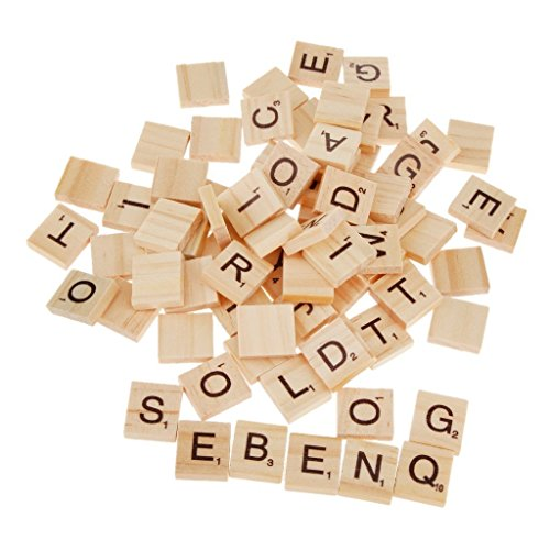 Wooden Scrabble Letter 100 Tiles Embellishment Wood Alphabet for Arts Board Game