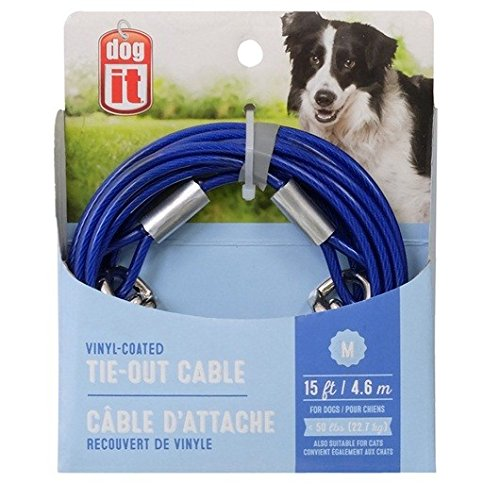 (Avenue Tether Dog Tie-Out Cable, Medium, 15-Feet, Blue)