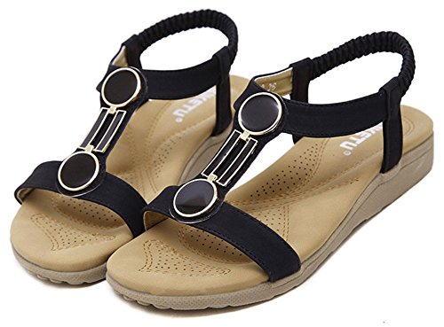 Esaemax Kvinna Mode Öppen Tå T-rem Elastisk Strand Platta Sandaler Svarta