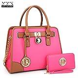 MMK collection Women Fashion Pad-lock Satchel handbags with wallet(2553)~Designer Purse for Women ~Multi Pocket ~ Beautiful Designer Handbag Set (MA-02-6892-Fuchsia)