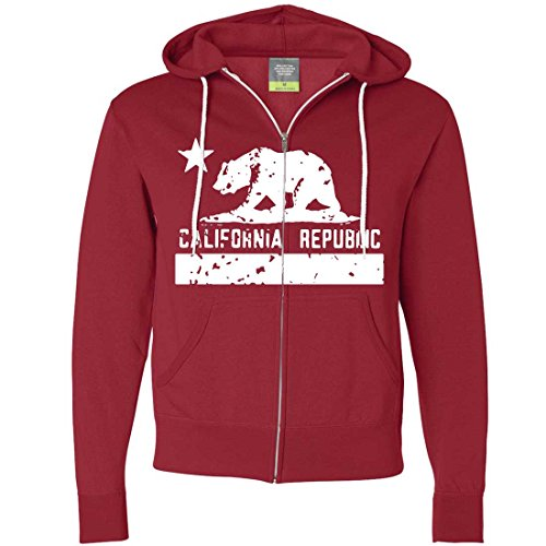 (California Flag White Print Silhouette Zip-Up Hoodie - Red X-Large)