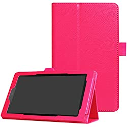 CCMAO All-New Fire 7 Tablet Case,Ultra Slim Premium PU Leather Folio Smart Cover For All-New Fire 7 (7th Generation, 2017 Release) (rose red)