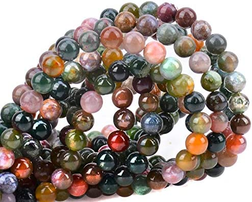 100Pcs Natural Crystal Beads Stone Gemstone Round Loose Energy Healing Beads with Free Crystal Stretch Cord for Jewelry Making Amethyst, 6MM