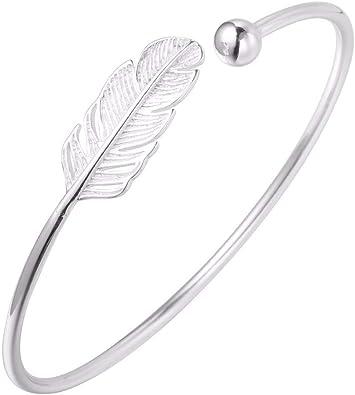 Pulsera de plata de ley 925 con diseño de hoja, estilo boho, para mujer: Amazon.es: Joyería
