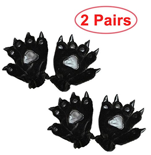 2 Pairs of Animal Costume Bear Panda Paw Claw Hand Gloves Cosplay Gloves Party Gift for Kids Teen Adult