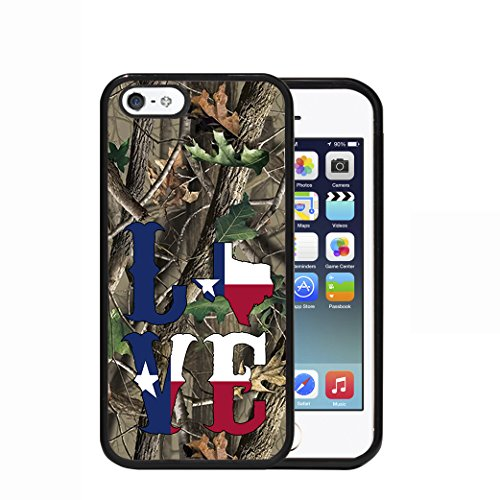 (Love Texas State Flag Camo Oak Trees Background Apple iPhone 5/5s/5G Rubber TPU Silicone Phone Case)