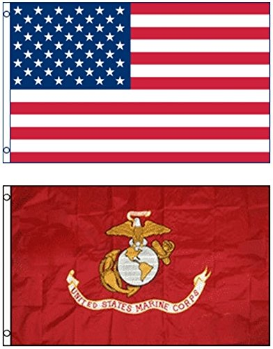 Mission Flags 3x5 ft. 2-Pack US American and USMC Marines Polyester Flags