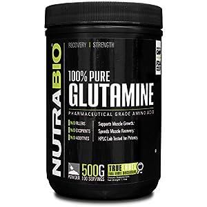 NutraBio 100% Pure L Glutamine Powder 500 Grams