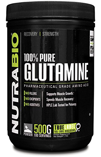 NutraBio 100% Pure L Glutamine Powder 500 Grams