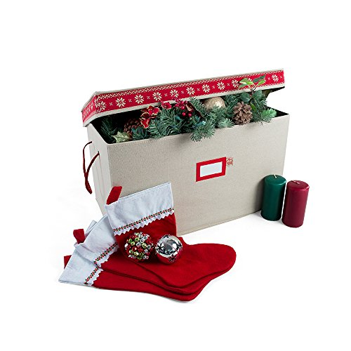 [Multi Use Christmas Decoration Storage Box] - Self Standing Container with ID Tag Holder for Easy Identification - for Garland Storage and Other Miscellaneous Decor Storage (Cross Stitch)