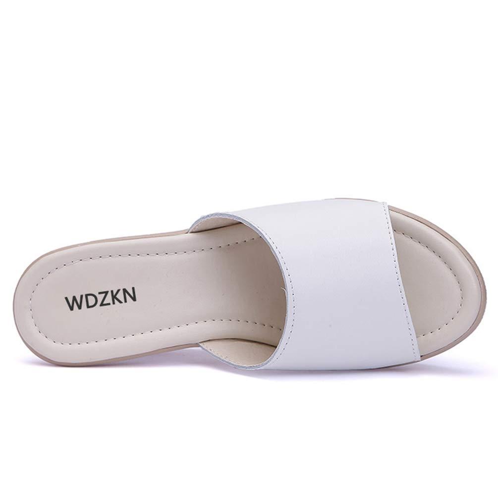 T-JULY Summer Women Slip On Round Toe Slides Slippers Ladies Wedge Platform Comfortable High Heel Sandals Slippers