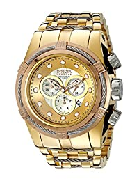 Invicta Men's 12758 Bolt Reserve Chronograph Champagne Mother-Of-Pearl Dial 18k Gold Ion-Plated Stainless Steel Watch