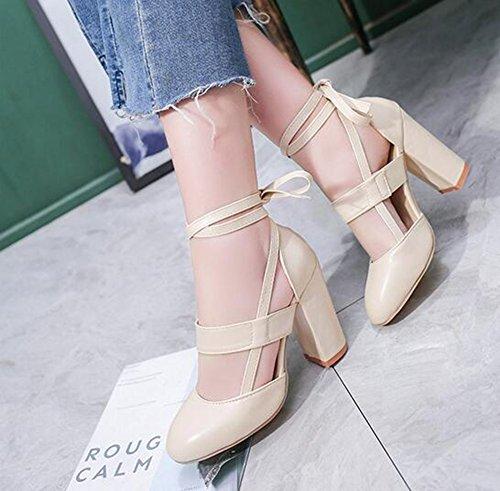 de tamaño tacón 2018 Rojo Artificiales de Color de de Beige Zapatos Gran 41 PU Grueso Sandalias tamaño Mujer Zapatos tamaño tacón Mujeres de Verano Gran Sandalias Grueso de con 4qIIHxBwE