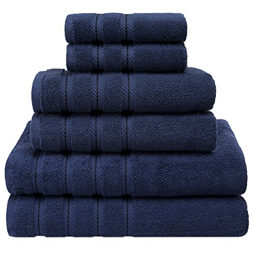 Premium, Luxury Hotel & Spa, 6 Piece Towel Set, Turkish Towels 100% Cotton for Maximum Softness and Absorbency by American Soft Linen, [Worth $78.95] (Navy (Country Design Kitchen Sink)