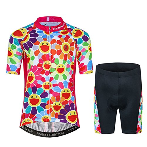 Kids Cycling Jersey Set Cartoon Short Sleeve Bike Top for Boy Girl with 3D Padded Shorts Simle Size S