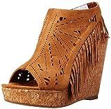 Not Rated Women's Fringe Delight Wedge Sandal, Tan, 7 M US