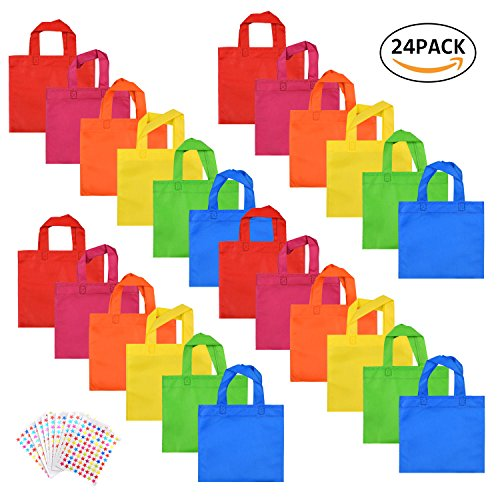 Party Favors Bags Non-woven Treat Bags with Handles WXJ13 Brand Rainbow Color Party Gift Tote Bags with 10 Pieces Star Stickers, 8 by 8 Inches, 24 Pieces (Rainbow Bag Kids)