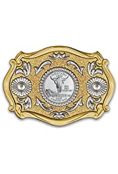 Western Belt Buckle With Genuine Montana State Quarter for Men by Bradford Authenticated
