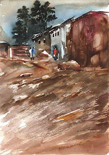 - Sulis Fine Art Charles Adu Danso - 1993 Watercolour, Street Scene